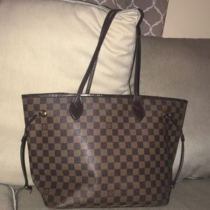 Auth Louis Vuitton Neverfull MM Damier Ebene Tote